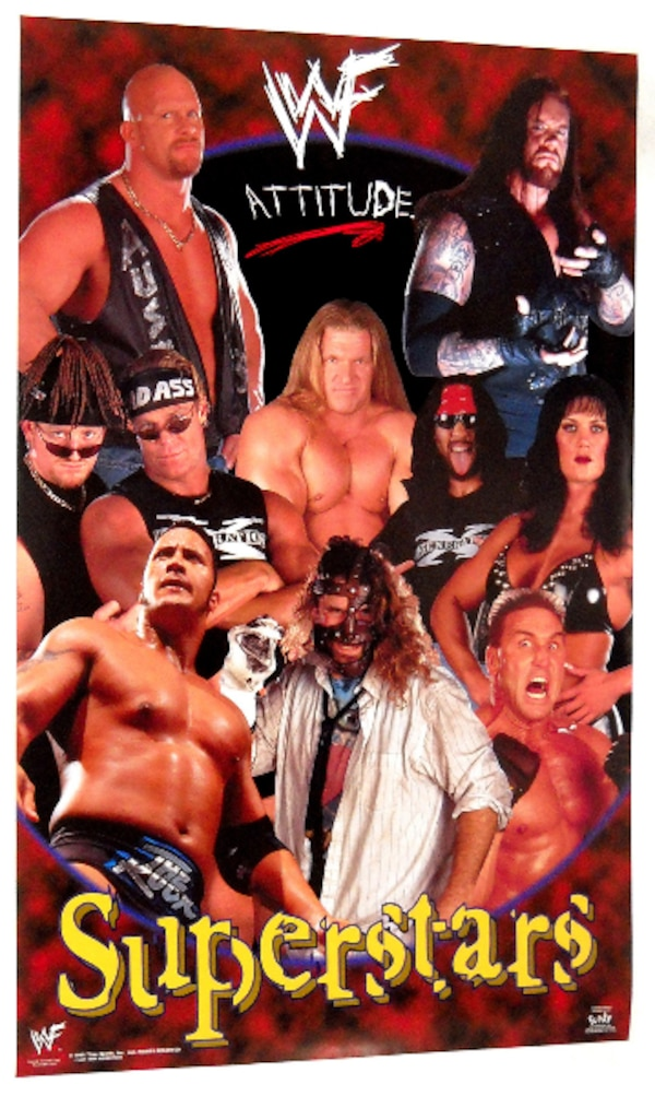 W.W.F. ATTITUDE SUPERSTARS COLLAGE POSTER FROM 1999 WWE RARE!