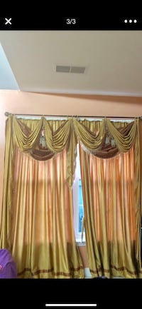4Custom made curtains with valence  and also with a threshold valance
