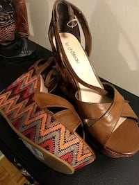 pair of brown leather open toe ankle strap heels Toronto, M6H 2B1