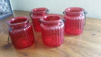 4 red candle holders Halloween Wedding Home Decor