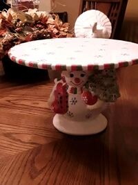 Christmas Christopher Radko Snowman Footed Cake Plate- Brand New