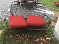 Iron bench, with cushions leg needs to be fixed! But it can be welded! $60 Rutherfordton, 28139