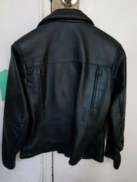 Black leather woman's motorcycle jacket.