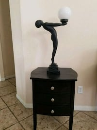 Vintage Art Deco Style Woman Lamp, nude with ball.