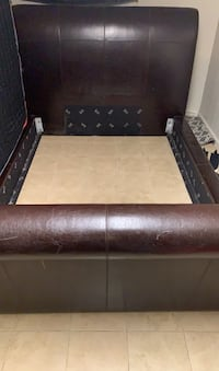 BROWN LEATHER QUEEN SIZE BED FRAME