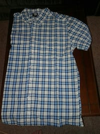 men's blue and white full buttoned plaid polo shirt Woodstock
