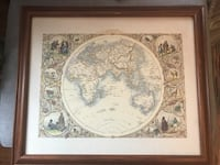 Framed print of antique map.  Good condition.  About 24 x 28