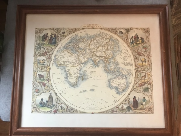 Framed print of antique map.  Good condition.  About 24 x 28 3210b43f-b632-4173-9e57-b899019cd3af
