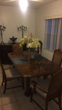 rectangular brown wooden table with four chairs dining set Orlando, 32826