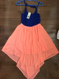 size S: royal blue & peach/coral dress from Milk Shop Ottawa
