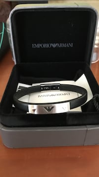 Black and silver-colored emporio armani bracelet