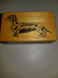 """DACHSHUND"" MOUNTED WOODEN RUBBER STAMP San Diego, 92105"