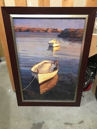Brown wooden framed painting of two brown ducks 3132 km