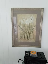 flower plant painting with frame