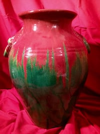 "Large 15.5"" Tall Clay Pot - Green and Red Tone Drip Glaze"