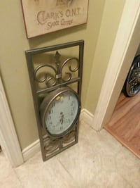 rectangular gray metal framed analog clock North Saanich, V8L 3Z5