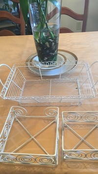 Baskets- white wire- 1 for miscellanious items, 1 holds  small napkins, and 1 holds large napkins Madison, 39110