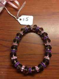 purple and white beaded bracelet