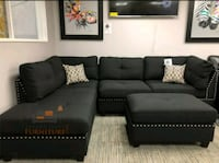 Brand New Black Linen Sectional Sofa +Ottoman  39 km