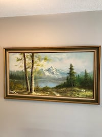 Painting of mountains and lake Coquitlam, V3B 5R5