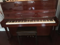brown wooden upright piano with chair Ajax, L1T 3N5