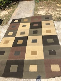 brown, gray and white area rug