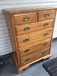 Brown wooden 5-drawer tallboy dresser Colorado Springs, 80904