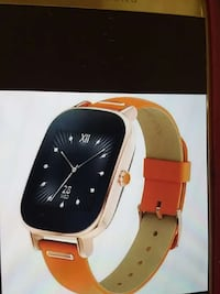 gold link square framed orange strap smartwatch