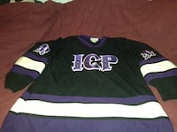 black and purple long-sleeved jersey