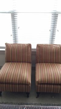 two brown-and-red stripe fabric sofa chairs Rockville, 20852