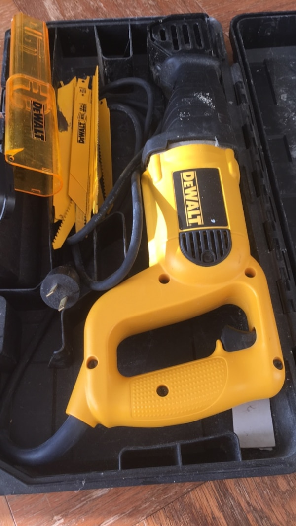 yellow and black DEWALT cordless power tool