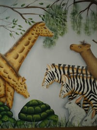JUNGLE ANIMALS Serigraph Oil Painting on Board Signed Nature Art Zebras Rabbits Bound Brook