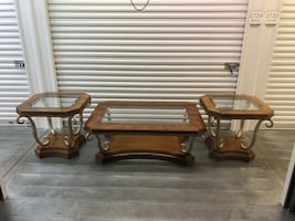 Wood/Glass Coffee Table And Two End Tables