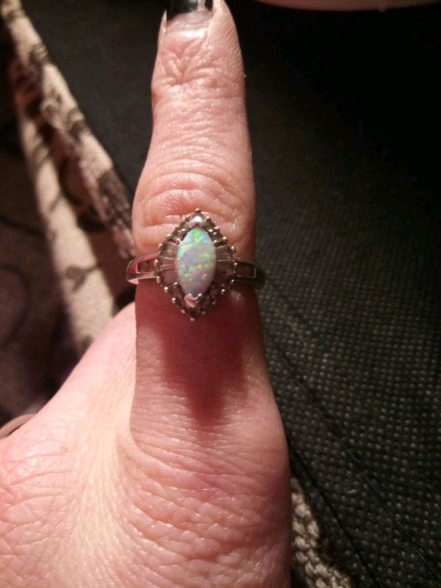 Photo Real diamond and fire opal ring