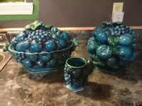 Blue green serving bowls and 1 cup New Llano, 71461