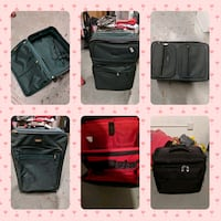 Large & small dark green used suitcases. $10 bo