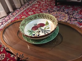 Hand painted pasta serving, fruit bowl or centerpiece  diameter 13.5