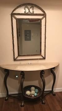 """Granite Console Entry table (54 1/2""""L c 17""""W(deep) x 29""""H) with entry mirror (45""""L x 28""""W). Greenacres, 33413"""