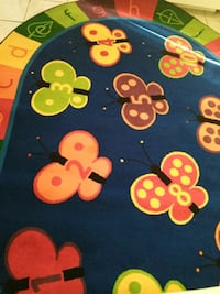 Childcare blue and yellow floral textile