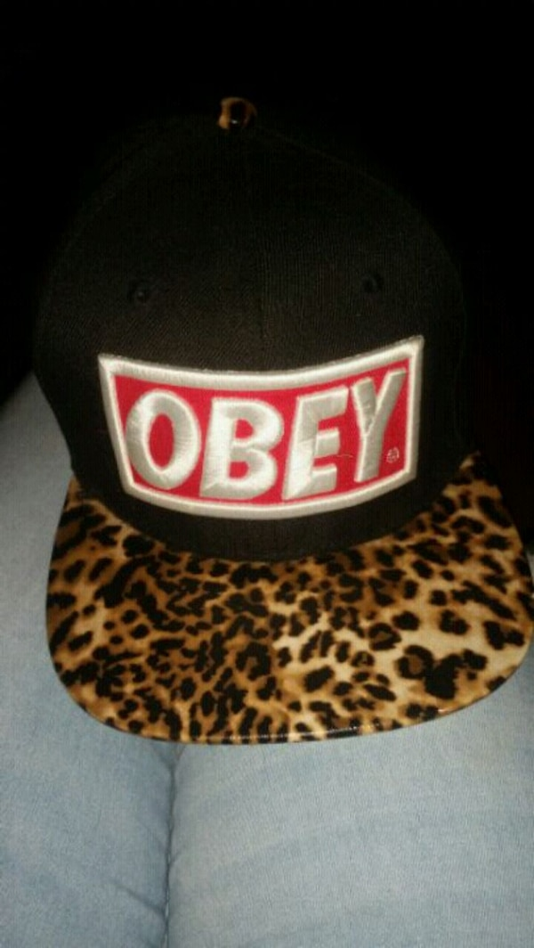 black and white Obey fitted cap