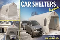 white car shelter collage with text overlay 539 km