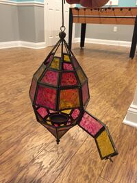 black and red stained glass pendant lamp Hillsborough