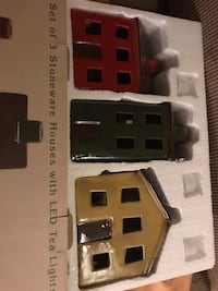Brand new ceramic primitive house sat of three with candle still sealed 51 mi