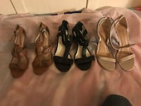 Four pairs of black and brown sandals