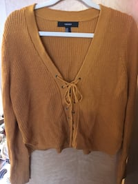 Mustard Lace-Up Cropped Sweater Seattle, 98122