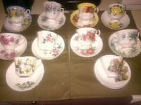 Vintage Royal Albert, Royal Vale, Letton, , Rosina, Colclough, Lofton all fine bone china cups an saucers made in England.  12 cups an saucers  Hamilton
