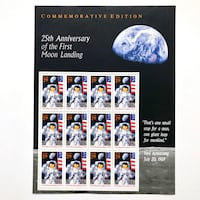 1994 USA 29c Sheet 25th Anniversary 1st Moon Landing Stamps