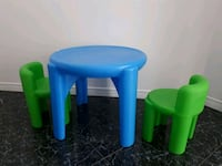 Little times blue table 2 green chairs