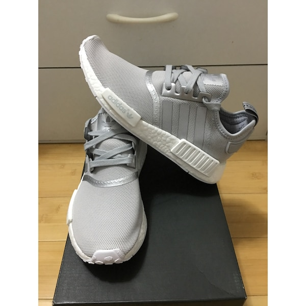 Used Adidas NMD R 1 Women Silver Grey White Reflective 7-10US ... 0e0df11a0071