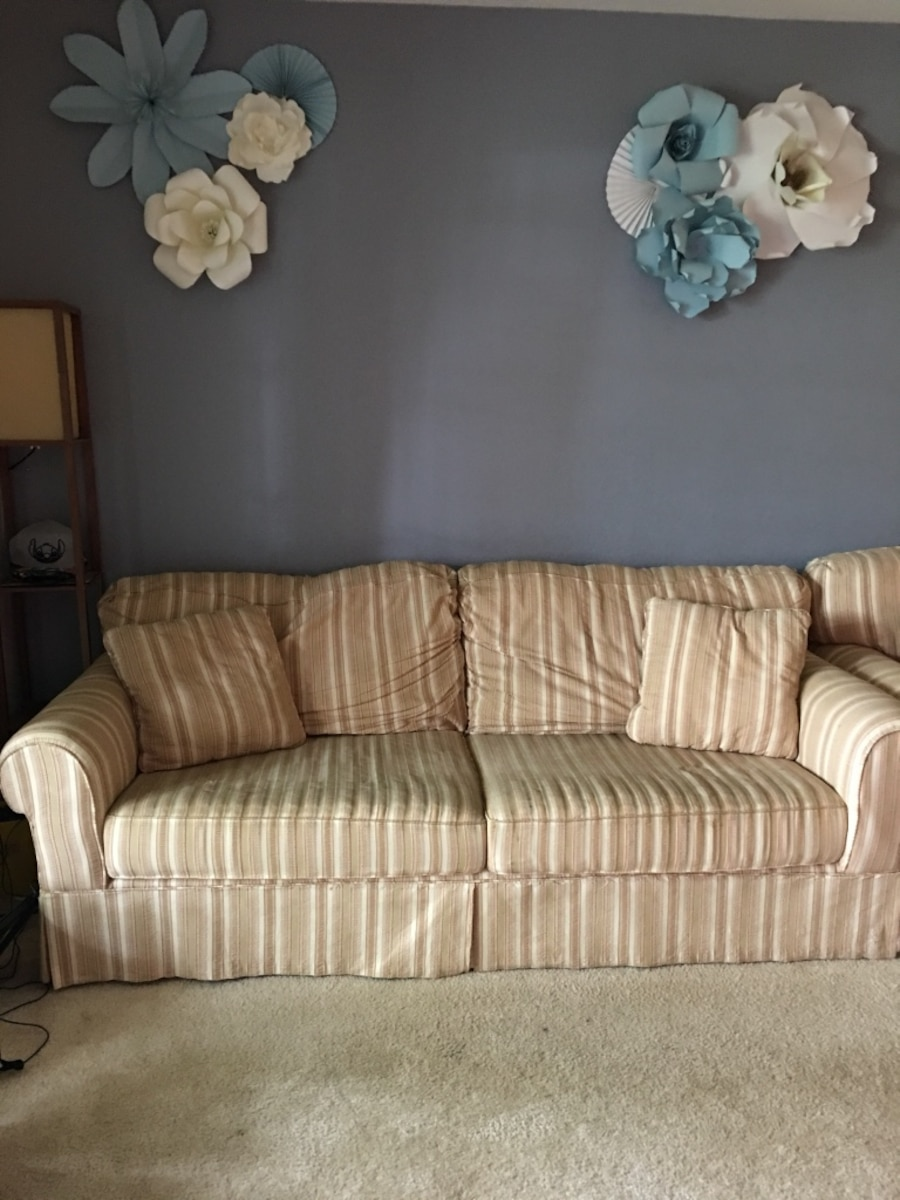 beige striped couch